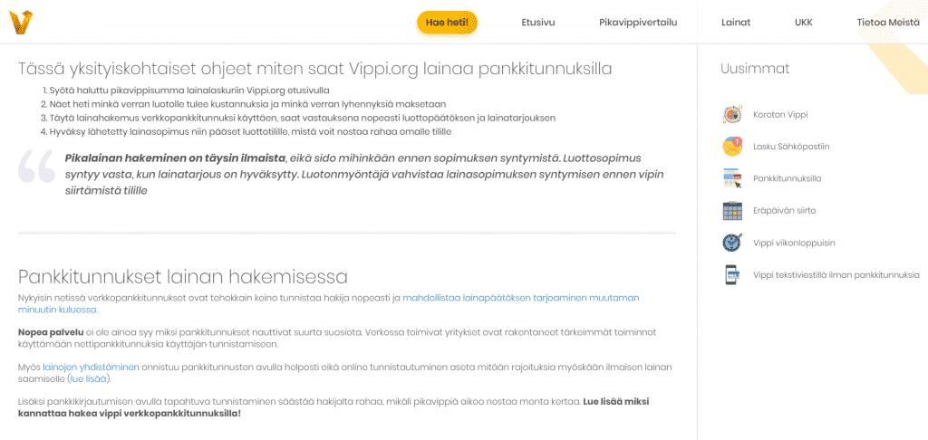 Korottoman ja kulottoman pikavipin myöntää Vippi.org